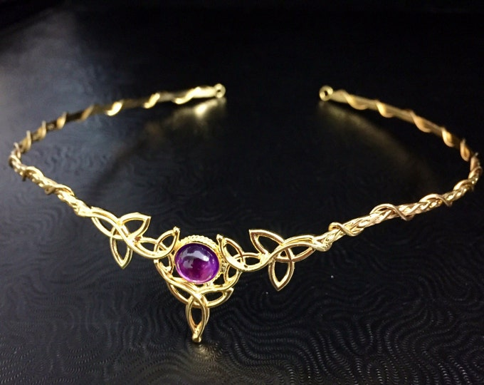 Celtic Knot Wedding Circlet Amethyst with 24K Gold Plating, Irish Tiara Sterling Silver 24K Gold Plating OOAK Irish Tiara