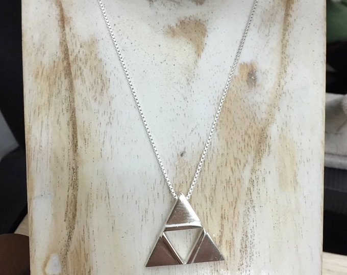 Zelda TriForce Inspired Pendant, 16 Inch Sterling box chain, TriForce Cosplay Necklace Sterling Silver Handmade, Legend of Zelda