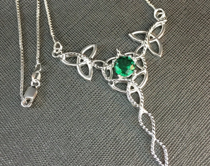 Emerald Celtic Knot Necklace in Sterling Silver, Irish Necklaces, Gifts For Her, Birthday, Anniversary, Irish Wedding