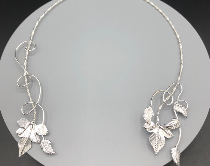 Woodland Leaf Neck Ring, Ivy Necklet in Sterling Silver, Neck Jewelry, Gifts For Her, Rustic Wedding Accessories, Handmade