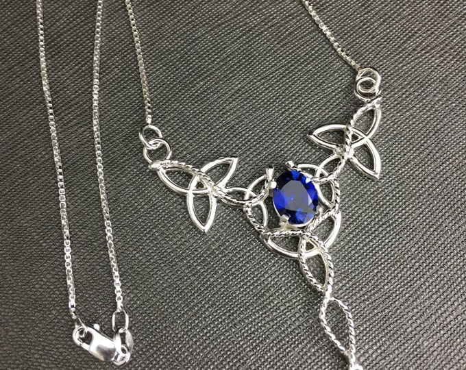 Celtic Trinity Knot Sapphire Necklace int Sterling Silver, Gifts For Her, Irish Necklaces, Gifts For Her, Statement Jewelry