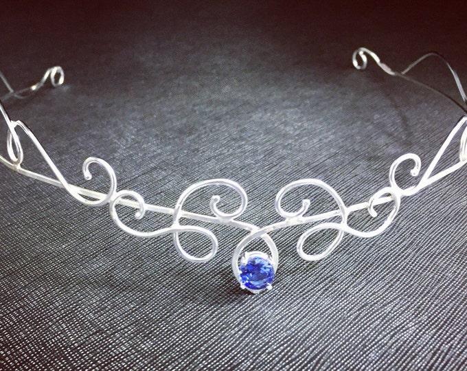 Elvish Sapphire Tiara in Sterling Silver, Artisan Wedding Circlet, Simple Tiara, Bohemian Bridal Circlet