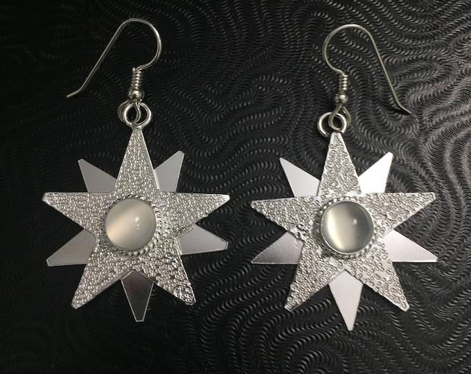 Star Celestial Boho Earrings, Sterling Silver Moonstone Star Earrings, Dangle Star Earrings, Handmade Star Earrings with 8mm Moonstones