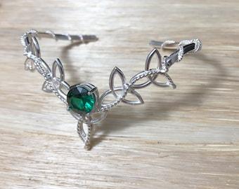 Celtic Trinity Knot Emerald Bracelet Cuff, Irish Bracelets, Gifts For Her, Moonstone Celtic Jewelry, Artisan Cuff Bracelet, Boho Cuff