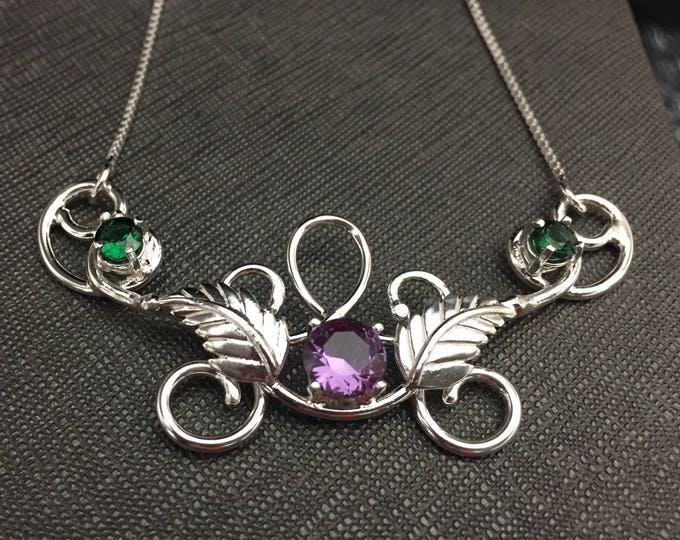 Woodland Leaf Gemstone Necklace with Emerald and Amethyst in Sterling Silver, Bohemian Necklaces, Fae Elvish Gemstone Necklace