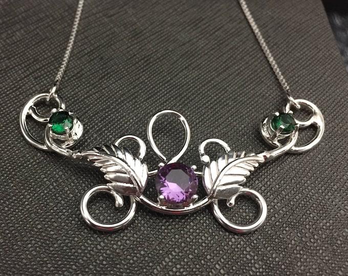 Leaf Elvish Necklace with Emerald and Amethyst, Renaissance Necklaces, Art Nouveau Handmade Sterling Silver Gemstone Necklace