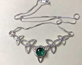 Celtic Trinity Knot Emerald Amethyst Necklace in Sterling Silver, Irish Sapphire Necklace Designs, Gifts for Her, Scottish, Pictish Jewelry