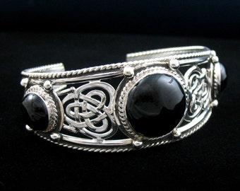 Celtic Sterling Silver Bracelet Cuff, Handmade Artisan Celtic Bracelet Cuff, Celtic Bracelets, OOAK Heirloom Bracelets, Sterling Silver
