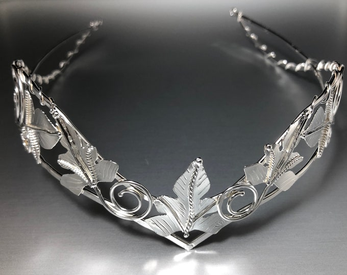 Woodland Bridal Tiara in Sterling Silver, Elvish Leaf Wedding Circlet, Rustic Leaf Wedding Accessories, Alternative Bridal Crowns