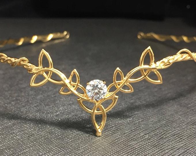 Elvish Wedding Celtic Irish diadem Circlet 925 and 24K Gold Plating, Sterling Silver Celtic Wedding Circlet Bridal Headpiece
