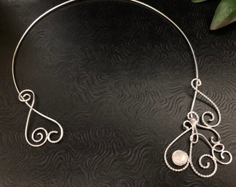 Art Nouveau Wire Work Sculpture Neck Rings in Sterling Silver, Artisan Made Shoulder Jewelry, Pictish Renaissance Neck Jewelry, Fairy Torcs