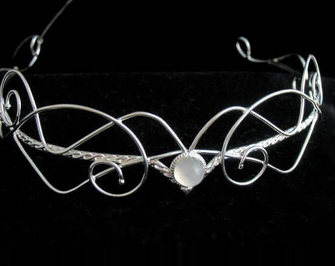 Bespoke Wedding Gemstone Tiara in Sterling Silver, Artisan Bridal Circlets, Renaissance Wedding, Victorian Tiara