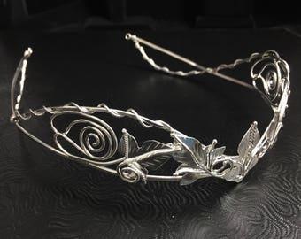Woodland Tiara and Earrings Set in Sterling Silver, Handmade Wedding Accessories, Faery Wedding