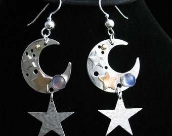 Crescent Moon and Star Earrings in Sterling Silver with 14K gold-filled stars, Sterling Silver Celestial crescent moons with Gemstones