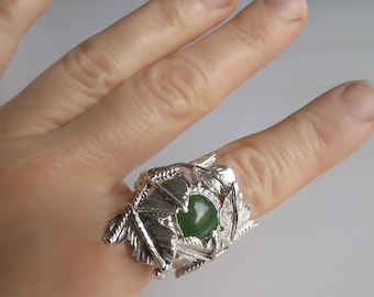 Woodland Leaf Gemstone Rings in Sterling Silver, Large Statement Rings, Wide Finger Rings, Gifts For Her