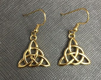 Celtic Triquettra Trinity Knot Earrings, Sterling Silver 24K Gold Plated Irish Earrings, Drop Dangle Trinity Knot Earrings 24K GP