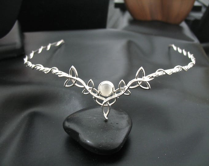 Celtic Moonstone Tiara in Sterling Silver, Irish Sapphire Diadems, Gifts For Her, Alternative Bridal, Renaissance Wedding Accessories
