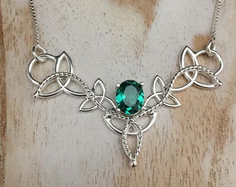 Celtic 925 Scottish Trinity Knot Lab Emerald Necklace, Irish Necklaces, 16 Inch Sterling Box Chain, Handmade Celtic Wedding Necklace, 925