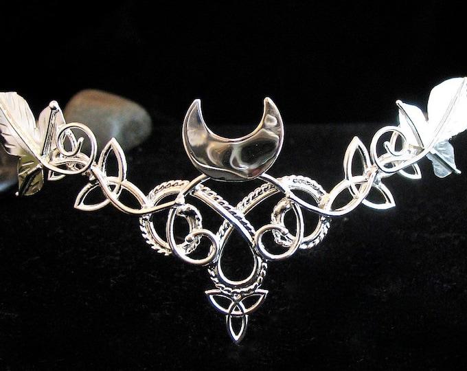 Celtic Leaves Crescent Moon Bridal Wedding Tiara in Sterling Silver, Wedding Circlet for Hair, Handmade Artisan SCA Pagan Alternative Bride