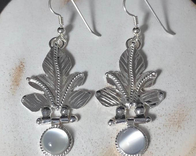 Opal Sapphire Moonstone Leaf Earrings, Dangle Leaf Earrings, Gifts For Her, Alternative Bridal, Woodland JewelryCute Earr