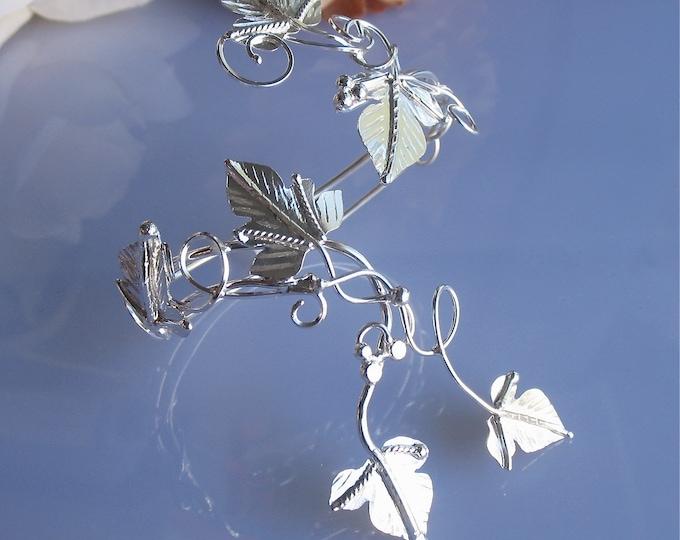 Woodland Leaves Bracelet Cuff in Sterling Silver, Artisan Bohemian Arm Jewelry, Forearm Cuff Bracelet Wraps, OOAK Handmade