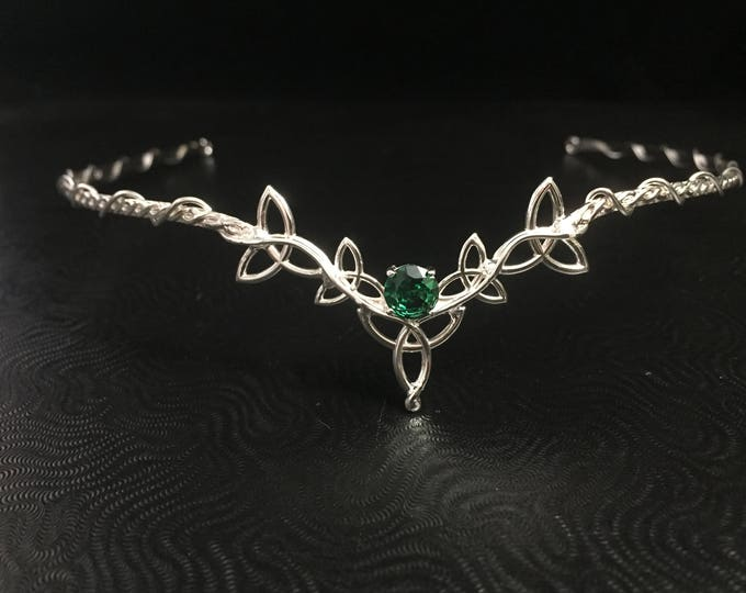 Celtic Trinity Knot Emerald, Aquamarine, Amethyst Wedding Tiara in Sterling Silver, Irish Circlet, Forehead Jewelry, Bridal Accessories