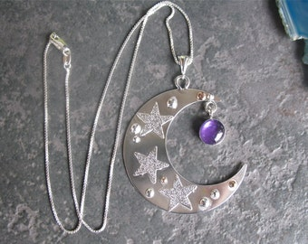 Large Sterling Pendant Necklace Crescent Moon, 14K gold filled, Celestial Moon, Celestial Necklace, Gemstone, Handmade, OOAK