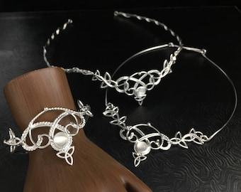 Bohemian Celtic Bridal Gemstone Jewelry Set in Sterling Silver, Tiara, Bracelet Cuff, Renaissance Bride Accessory Set in Sterling 935