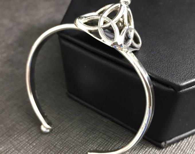 Celtic Pyramid Trinity Knot Bracelet Cuff in Sterling Silver, Symbolic Irish Bracelets, Artisan Cuff Bracelet, Scottish Bracelet Cuffs