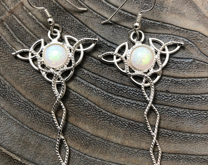 Irish Celtic Trinity Knot Earrings with Moonstones in Sterling Silver, Drop Celtic Trinity Knot Earrings, Boho Style Earrings Irish Earrings