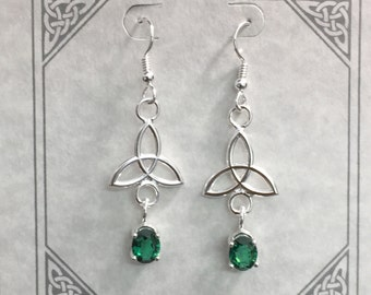 Celtic Knot Emerald Drop Earrings in Sterling Silver, Irish Charmed Dangle Earrings, Earlobe Jewelry