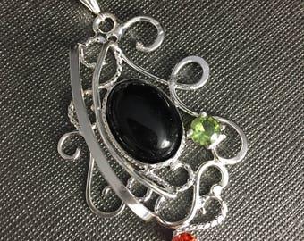 Free Form Wire Art Nouveau Necklace, 925 filigree Gem Necklaces, Elven Wire Sculpture Necklaces, Renaissance Statement, Victorian Necklace