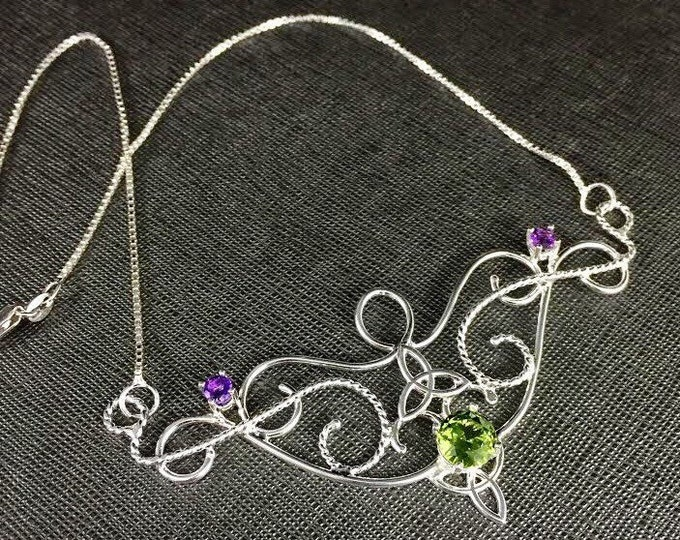 Celtic Renaissance Peridot and Amethyst Necklace in Sterling Silver, Bohemian Necklaces with Box Chain 925, Gifts For Her, Artisan Jewelry