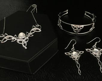 Celtic Knot Jewelry Sets, Irish Gemstone Necklace, Bracelet Cuff, Earrings, Gifts For Her, Irish Jewelry Bridal Sets