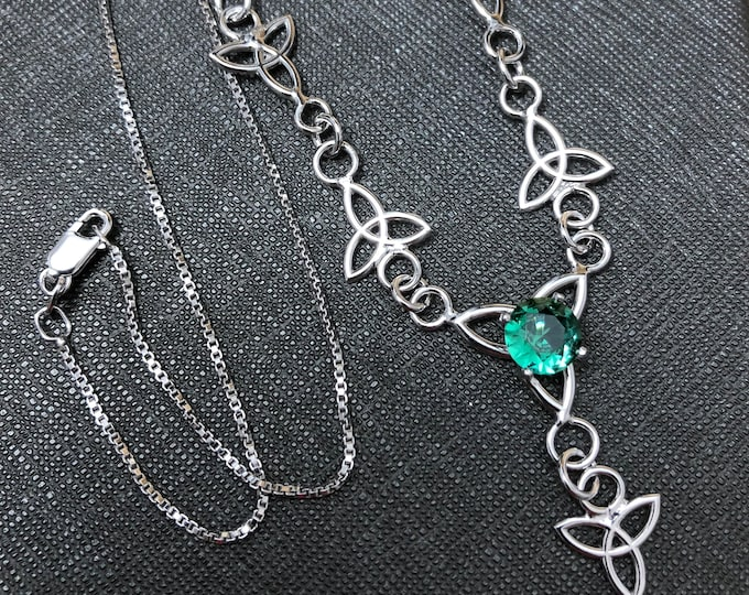Celtic Knot Green Emerald Necklace in Sterling Silver, Irish Jewelry, Gift For Her, Boho Necklace, Sterling Silver Necklace with 8mm Emerald