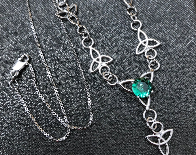 Celtic Knot Gemstone Necklace in Sterling Silver, Irish Jewelry, Gift For Her, Boho Necklace, Sterling Silver Necklace with 8mm Emerald