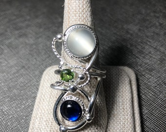 Bohemian Sapphire Moonstone Peridot Free Style Ring, Gifts For Her, Statement Moonstone Rings, Abstract Swirl Finger Jewelry