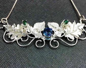 Woodland Leaves Necklace, Woodland Bohemian Necklace, Woodland Gemstone Leaf Necklace, Sterling Silver Handmade Waldorf Necklaces