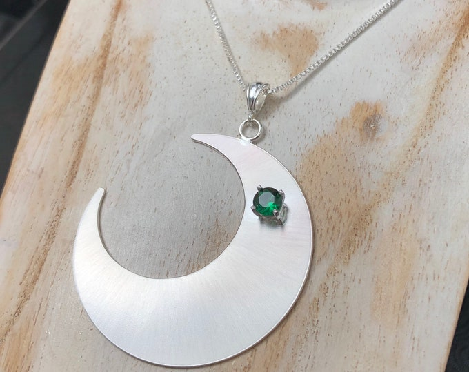 Large Crescent Moon Emerald, Amethyst, Peridot Necklace in Sterling Silver, Celestial Bohemian Necklaces, Gifts for Her, Birthday