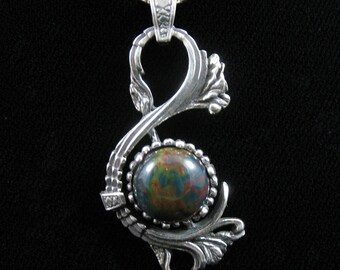 Sterling Silver Victorian Pendant Necklace with 12mm Round Cabochon and Box Chain, Art Nouveau Swan Necklace, Bohemian Necklaces