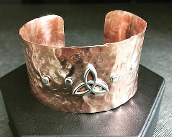 Copper Hammer Industrial Bracelet Cuff, Wide Copper Cuff, Sterling Silver Celtic Knot, Copper Bracelet Cuffs, Mixed Metals Bracelet Cuffs