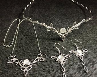 Celtic Knot Gemstone Bridal Jewelry Set, Celtic Tiara, Trinity Knot Necklace and Earrings Set, Alternative bride