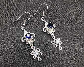 Celtic Knot Dangle Drop Earrings, Fleur de Lis Earrings, Gifts For Her, Anniversary, Birthday, Irish Jewelry, Celtic Earrings