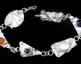 Artistic Freeform Abstract Bracelet Links with Various Gemstones in Sterling Silver
