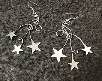 Bohemian Celestial Star Earrings, Star Free Form Wire Statement Earrings, Handmade Star Celestial Earrings, OOAK, Celestial Jewelry