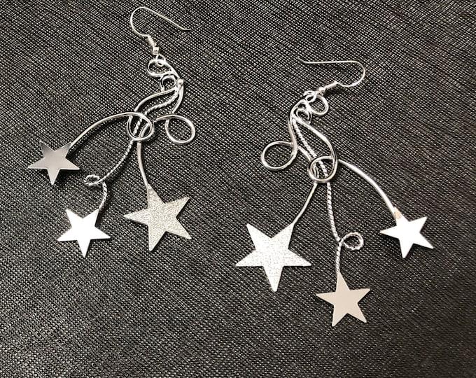 Bohemian Celestial Star Earrings, Star Free Form Wire Statement Earrings, Handmade Star Celestial Earrings, OOAK, Celestial Jewelry