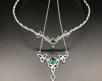 Celtic Gemstone Wedding Circlet and Necklace Set, Irish Emerald Bridal Tiara and Necklace, Celtic Wedding Sets, Scottish  Wedding