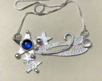 Shooting Celestial Star Necklace in Sterling Silver, Gifts For Her, Hipster Boho Necklaces, Comet Jewelry, Star Necklaces