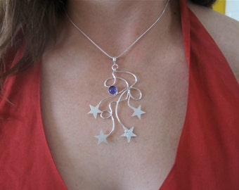 Celestial Stars Gemstone Necklace in Sterling Silver, Statement Star Necklace, Handmade, Gifts For Her, Anniversary, Celestial Jewelry