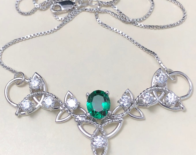Emerald and White Topaz Celtic Trinity Knot Pendant Necklace with 16 Inch Sterling Box Chain, Handmade, Sterling Silver, Lab Created Emerald